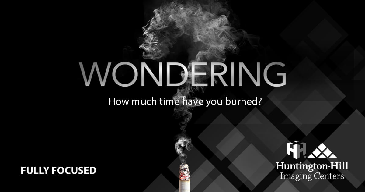 """Picture of Smoke forming question mark with text """"Wondering how much time you have burned?"""""""